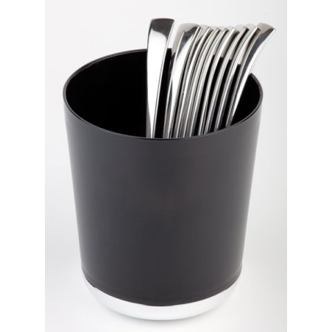Table Waste/Cutlery Bin BASE CHROM Ø13cm SAN/Plastic black - 1pc