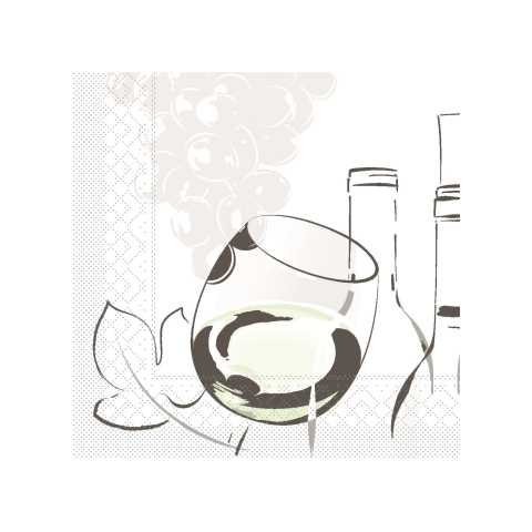 Napkins TIME FOR WINE 25x25cm 1/4fold TISSUE - 1200pcs.