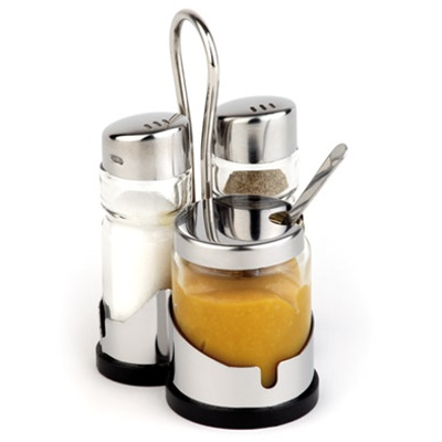 Pepper&Salt Menage ECONOMIC 3-part Glass/Stainless Steel - 1pc.