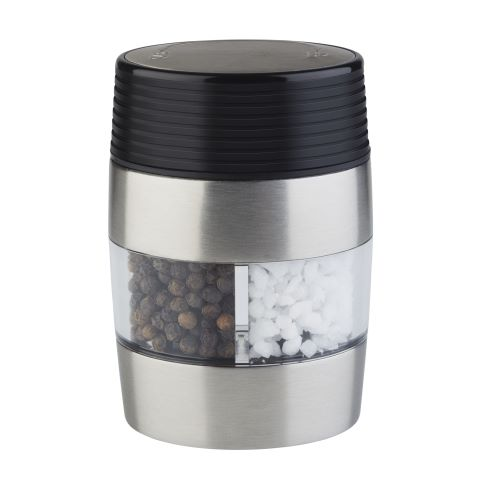 2in1 Salt&Pepper Mill 6x4,5cm/height9,5cm StainlessSteel - 1pc.