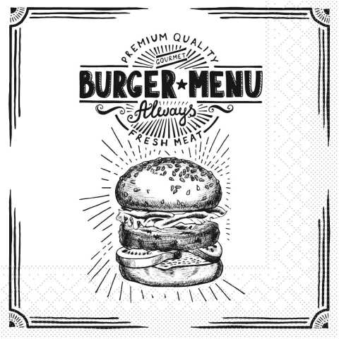 Napkins BURGER MENU 33x33cm 1/4fold TISSUE - 600pcs.