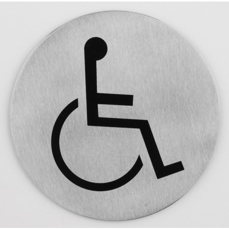 Sign plate Ø7,5cm Disabled STAINLESS INOX - 1pc.