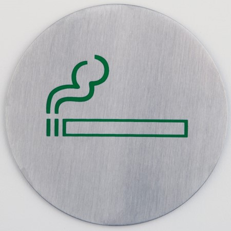 Sign plate Ø7,5cm Smoking STAINLESS INOX - 1pc.