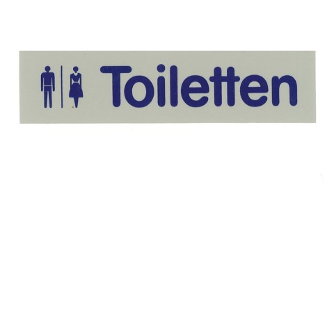 Signs 16x4cm TOILETTEN Plastic blue/silver - 1pc.