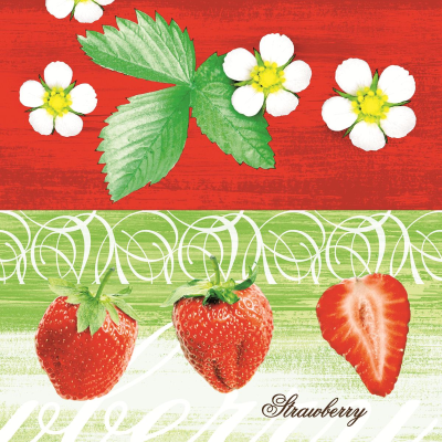 STRAWBERRY Servietten 40x40cm Linclass-AIRLAID rot/grün - 600Stk