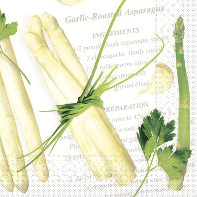 Napkins ASPARAGUS 40x40cm TISSUE 3-ply white/green - 600pcs.