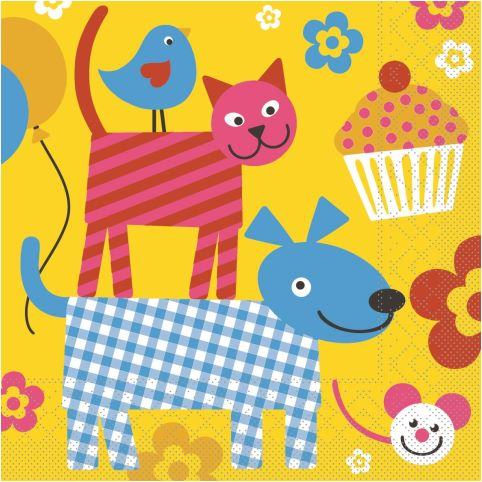 HAPPY KIDS Napkins 33x33cm 1/4Falz TISSUE colorful - 600pcs.
