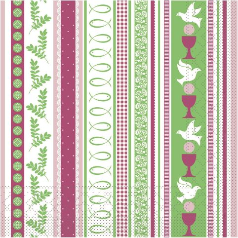 COMUNION Napkins 33x33cm TISSUE pink/green - 600pcs.