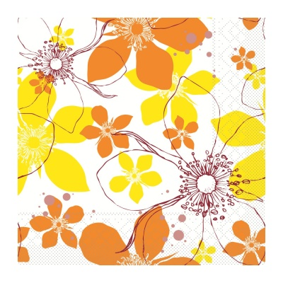 YESSIKA Napkins 33x33cm 1/4fold TISSUE yellow/curry - 600pcs.