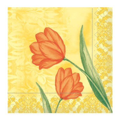 SALLY Servietten 33x33cm TISSUE gelb/orange - 800Stk.