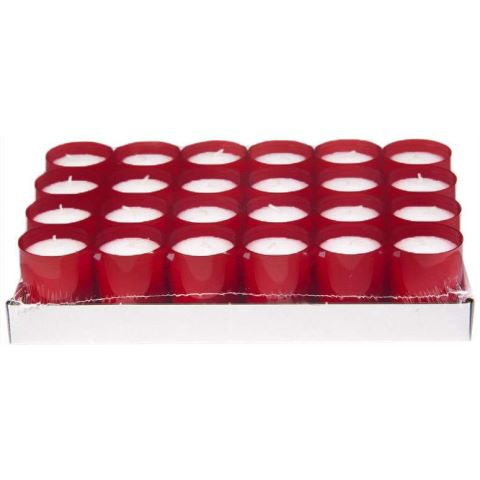 REFILL-Cups Candles BurningTime24h 1x24Tray burgundy - 24pcs.