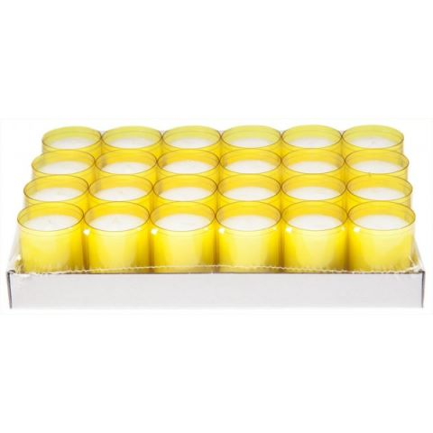 REFILL-Cups Candles BurningTime24h 1x24Tray yellow - 24pcs.