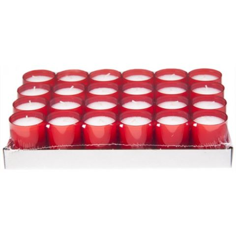 REFILL-Cups Candles BurningTime 24h 1x24Tray red - 24pcs.