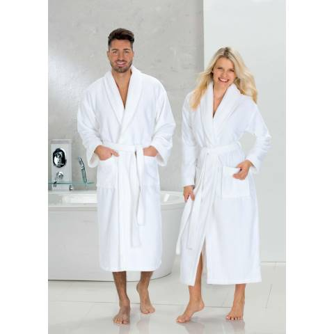 Bathrobe TURIN DUO-Soft Size:L COTTON white - 1pc.