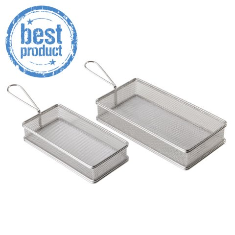 BEST!Fry Baskets SNACK-HOLDER 21x10cm StainlessSteel - 1pc.