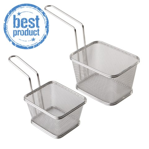 BEST! Fry Baskets SNACK-HOLDER 10x8cm StainlessSteel - 1pc.