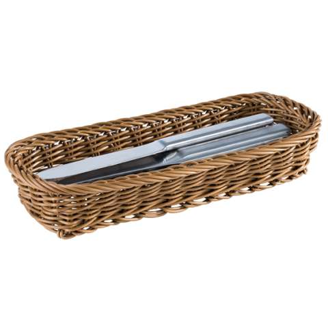 Cutlery Basket 27x10cm/height4,5cm PP-Plastic brown - 1pc.