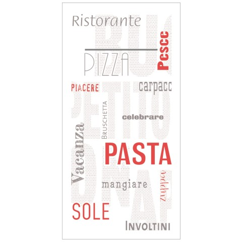 Pocket Napkins PASTA 40x40cm LINCLASS white/red - 300pcs.