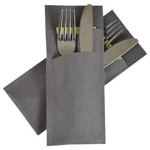 POCHETTO Cutlery bag including Napkin 20x8,5cm anthrazit 520pcs.