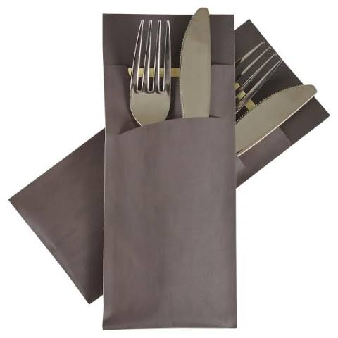 POCHETTO Cutlery bags including a Napkin 20x8,5cm brown - 520pcs