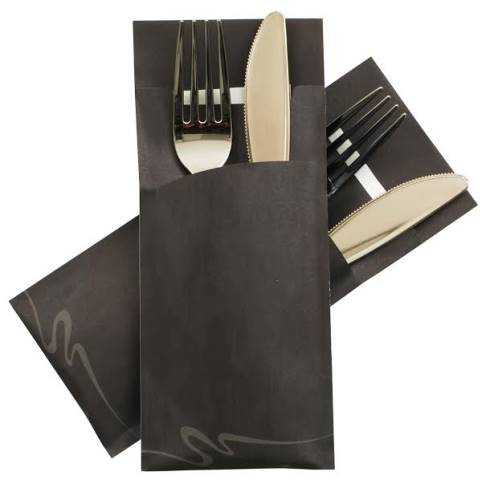 POCHETTO Cutlery bags including a Napkin 20x8,5cm black - 520pcs