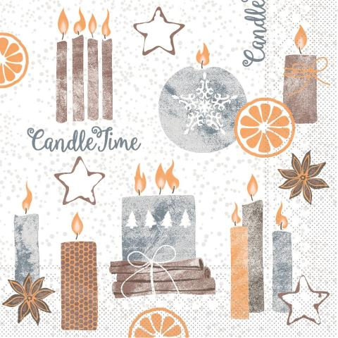 CANDLE TIME Napkins Christmas 33x33cm TISSUE grey - 800pcs.