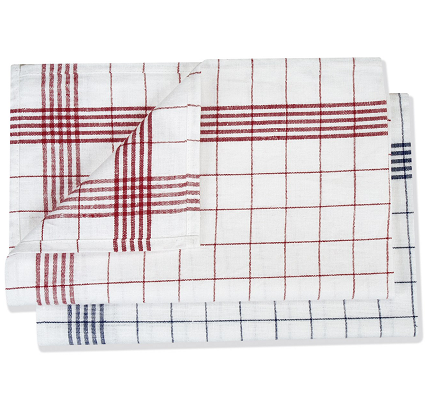 Pit Towel 50x70cm Half Linen red/checkered - 10pcs.