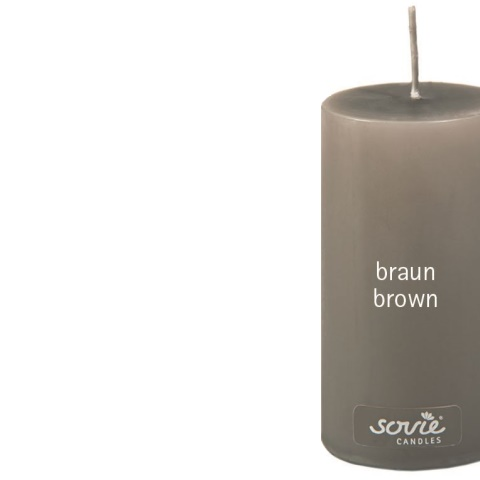 Pillar-Candles Ø5cm/height10cm 28h brown - 12pcs.