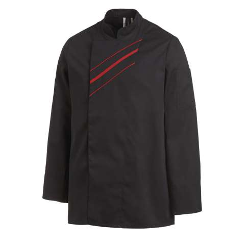 UNISEX Cook Jacket Sizes:42-64 Polyester/Cotton black/red - 1