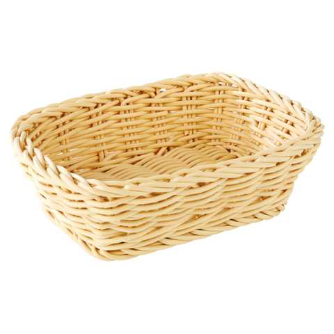 Basket rectangular 19x13cm/height6cm PP-Plastic lightbeige - 1pc