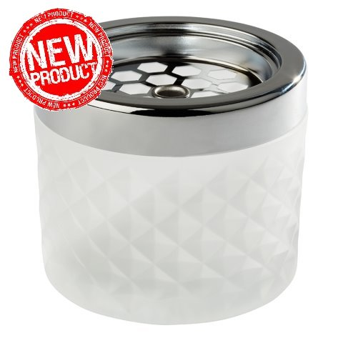 NEW! Ashtray Ø9,5cm/height8cm GLASS/METAL white - 1pc.