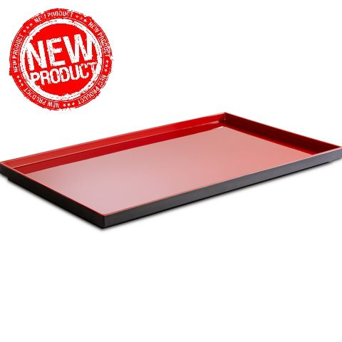 NEW! Tray ASIA+ GN1/1 height3cm MELAMIN black/red - 1pc.