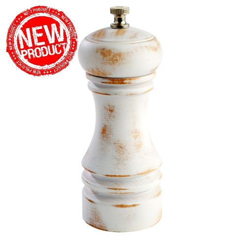 NEW! Pepper Mill Ø5,5cm/height15cm WOOD vintage white - 1pc.