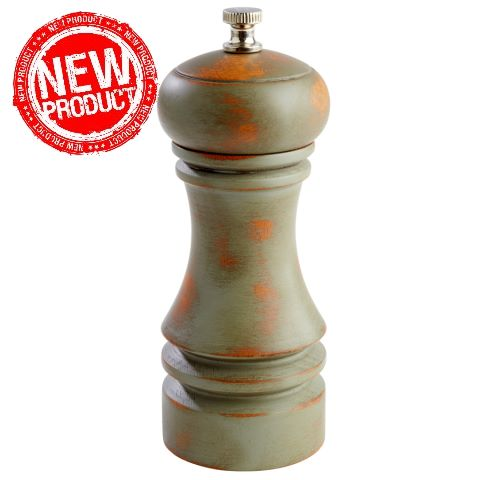 NEW! Pepper Mill Ø5,5cm/height15cm WOOD vintage green - 1pc.