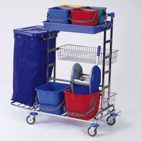Cleaning Trolley RW3 120ltr. 116x70cm/height125cm chrome plated