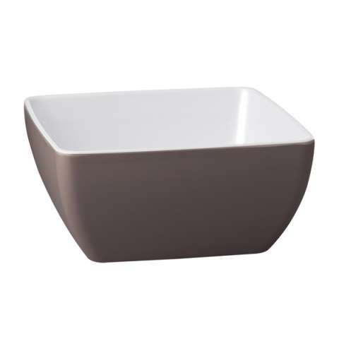 Bowl PURE BICOLOR 12,5x12,5cm/height6,5cm MELAMIN brown/white -