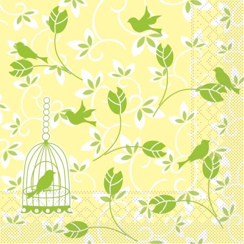ALICE Napkins 40x40cm 1/4fold TISSUE yellow/green - 600pcs.