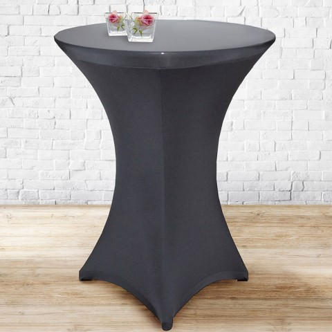 Stretch Table Cover Ø70-85cm Polyester anthrazit - 1pc.