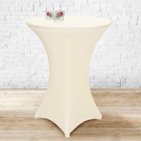 Stretch Table Cover Ø70-85cm Polyester champagne - 1pc.