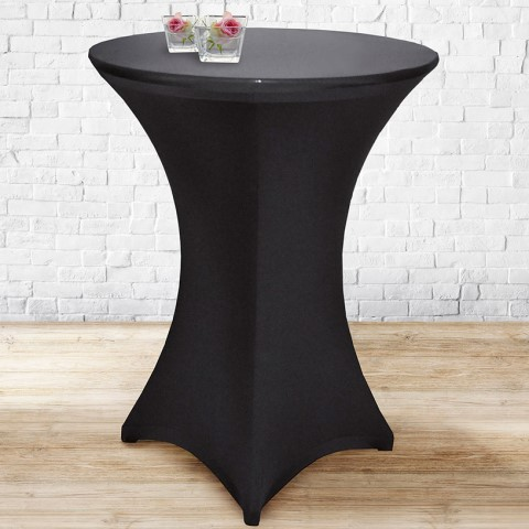 Stretch Table Cover Ø70-85cm Polyester black - 1pc.