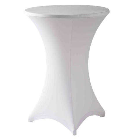 Stretch Table Cover Ø70-85cm Polyester white - 1pc.