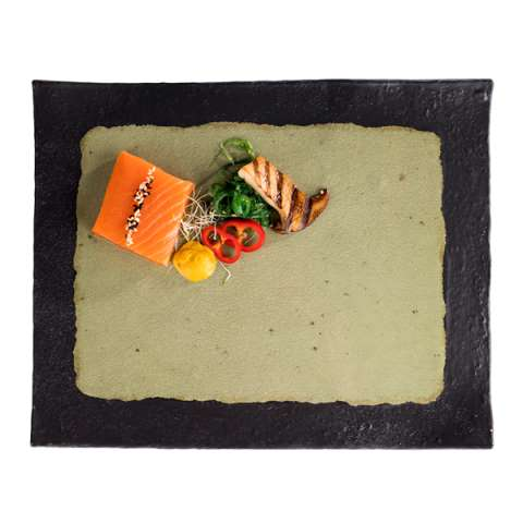 GN Tray JADE GN1/2 Height3cm MELAMIN black/green - 1pc.