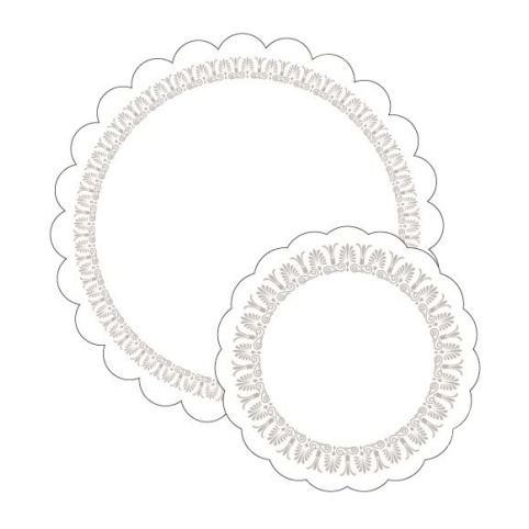 TrayDoilies CLASSIC Ø180mm 7ply TISSUE white/silver - 250pcs.