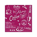 Napkins COFFEE TIME 25x25cm 1/4fold TISSUE bordeaux - 1200pcs.