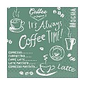 Napkins COFFEE TIME 33x33cm 1/4fold TISSUE anthrazit - 600pcs.
