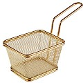 Fry Basket SNACKHOLDER 10x8,5cm/H6,5cm Stainless Steel gold 1pc.