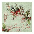 LOVE&JOY Xmas Napkins 33x33cm 1/4fold TISSUE green - 800pcs.