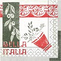 BELLA ITALIA Napkins 40x40cm TISSUE white/red - 1200pcs.