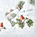 Xmas Napkins WINTER BIRD 40x40cm TISSUE - 600Stk.
