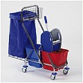 Double Trolley PLUS 2x17ltr 98x42cm/height101cm chrome plated -